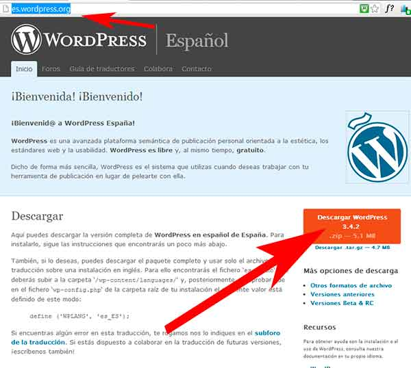 Cambio idioma WordPress
