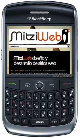 Vista  teléfono Blackberry